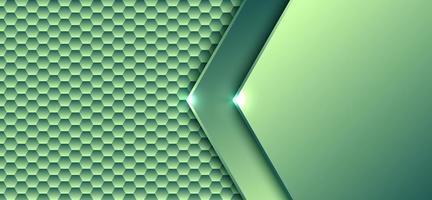 Modèle d'élément hexagonal dégradé vert concept numérique technologie abstraite avec fond de conception d'œuvres d'art léger et texture vecteur