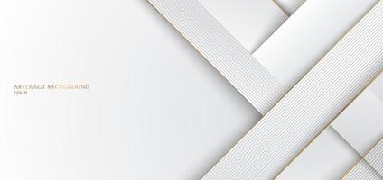 rayures blanches et grises abstraites avec un design élégant de ligne dorée vecteur