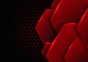 Abstrait hexagone métallique noir et rouge avec éclairage sur hexagones texture modèle technologie innovation concept background vecteur