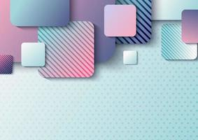 modèle de conception d'en-tête abstrait chevauchement carré arrondi 3d avec ombre sur fond bleu clair à pois vecteur
