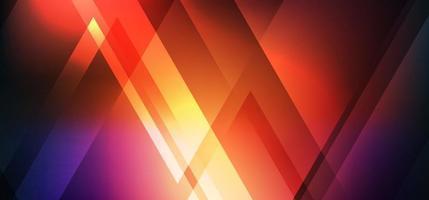 Abstrait rouge néon brillant forme de triangle géométrique avec des effets de lumière sur fond sombre vecteur