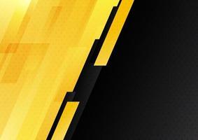 diagonale géométrique abstraite moderne de rayures jaunes et noires avec style de technologie de fond de motif de points. vecteur