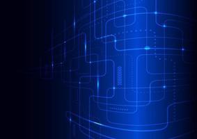 Concept futuriste de technologie abstraite lignes bleues brillantes et perspective d'éclairage sur fond sombre vecteur