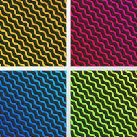 Ensemble de motif de lignes de vague diagonale abstraite jaune, bleu, rose et vert avec ombre sur fond noir et texture vecteur