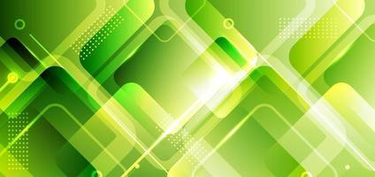 bannière abstraite fond web composition de formes carrées géométriques vertes avec lumière rougeoyante vecteur