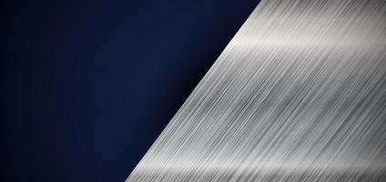 Abstrait bannière web diagonale métallique argentée élégante sur fond bleu foncé vecteur