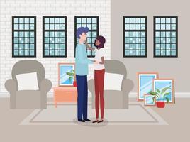 couple interracial attend un bébé à la maison