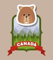 animal castor pour la célébration de la fête du canada vecteur