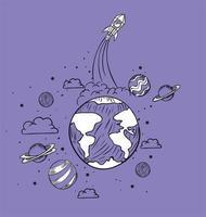 fusée dessinée à la main et planètes doodle vecteur
