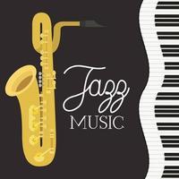 affiche de la journée du jazz avec clavier de piano et saxophone vecteur