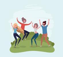 jeunes sautant célébrant dans les personnages du parc