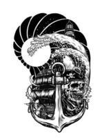 tatouage de vecteur de bateau pirate