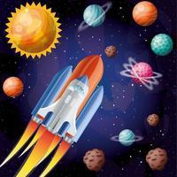 fusée avec flamme et planètes design illustration vectorielle vecteur