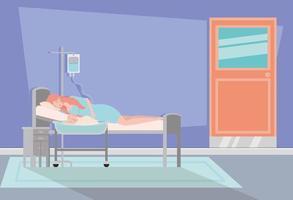 mère avec bébé nouveau-né dans la chambre d'hôpital vecteur