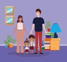couple enseignant avec petits élèves enfants dans la chambre vecteur