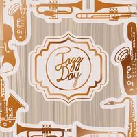cadre de jour de jazz avec instruments et fond en bois