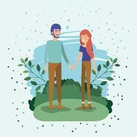 jeune couple amoureux sur le terrain