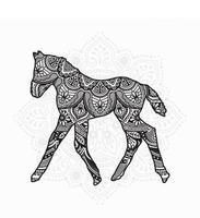 mandala de cheval. éléments décoratifs vintage. motif oriental, illustration vectorielle. vecteur