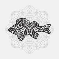 mandala animal marin. éléments décoratifs vintage. motif oriental, illustration vectorielle.
