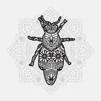 mandala d'insectes. éléments décoratifs vintage. motif oriental, illustration vectorielle. vecteur