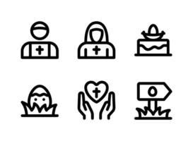 ensemble simple d'icônes solides vectorielles liées à Pâques. contient des icônes comme le prêtre, la nonne, le gâteau de Pâques, la prière et plus encore. vecteur