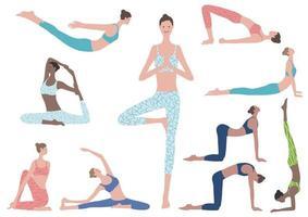 illustration plat ensemble de femme faisant des exercices de yoga. icônes vectorielles de diverses positions de yoga isolés sur fond blanc. vecteur
