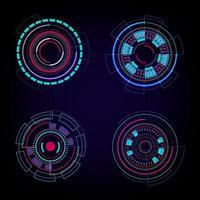 ensemble d'éléments de cercles de technologie de cercles hud sur fond bleu foncé. fond abstrait technologie futuriste. élément de cercle hud. vecteur