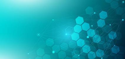 fond abstrait hexagone. concept médical et scientifique et molécule de structure et communication. vecteur