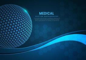globe abstrait avec motif hexagonal médical soins de santé innovation tech desig fond. vecteur