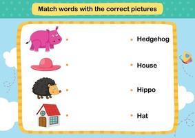 faire correspondre les mots avec les images correctes, vecteur