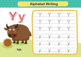 Exercice de lettre de l'alphabet y-yak avec illustration de vocabulaire de dessin animé, vecteur
