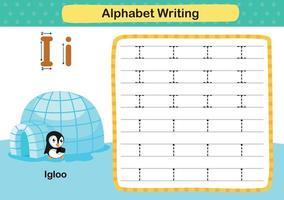 lettre de l'alphabet i-igloo exercice avec illustration de vocabulaire de dessin animé, vecteur