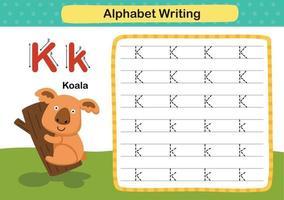 lettre de l'alphabet k-koala exercice avec illustration de vocabulaire de dessin animé, vecteur