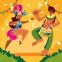 danse de fête de rio vecteur