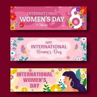 ensemble de bannière de la journée internationale de la femme vecteur