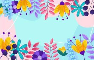 printemps plat avec fond coloré vecteur