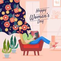 femmes créatives lisant une tablette sur un canapé vecteur