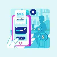 concept de paiement mobile intelligent au bar vecteur