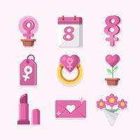 jeu d'icônes de la journée des femmes roses féminines vecteur