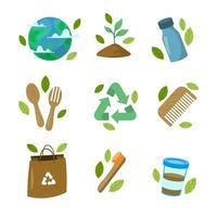 collection d'icônes de sensibilisation jour de la terre plate vecteur