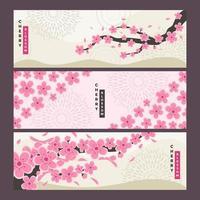 collection de bannières de fleurs de cerisier vecteur