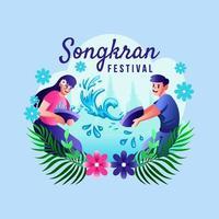 homme et femme s'amusent au festival de songkran vecteur