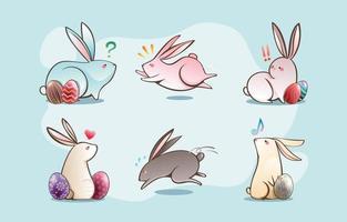 concept de personnage animal mignon lapin de pâques vecteur