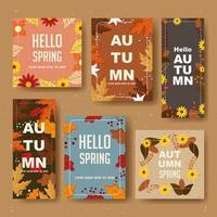 beauté bonjour collection de cartes de printemps vecteur