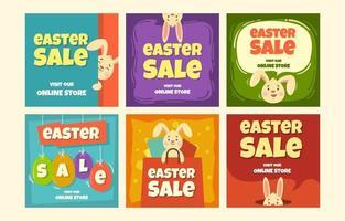 publication de vente de Pâques sur les médias sociaux vecteur