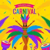 Femme danseuse de samba sur fond de carnaval de rio vecteur