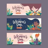 ensemble de bannière de la journée des femmes 8 mars vecteur