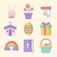 pack d'icônes de Pâques au design plat vecteur