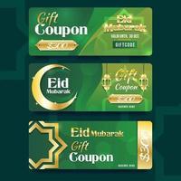coupon cadeau pour la promotion eid mubarak vecteur