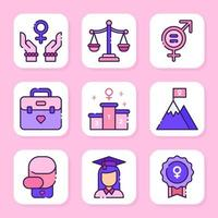 jeu d'icônes de la journée des femmes vecteur